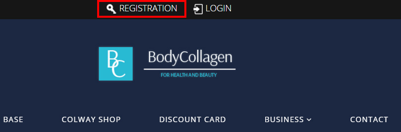 Registration to bodycollagen.com collagen cosmetics store